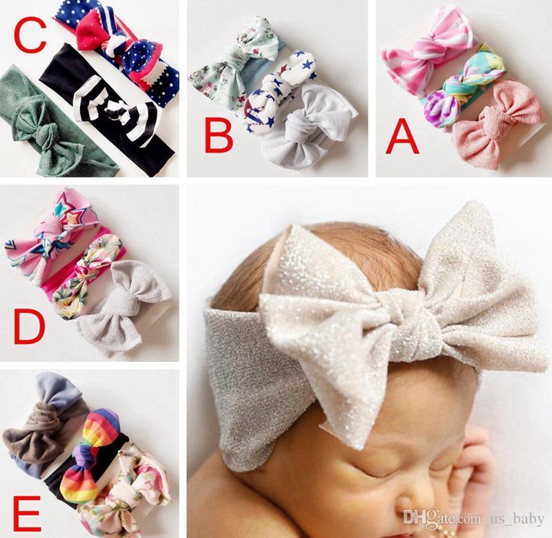 3шт / Set Девочка США звезда полоса оголовье дети цветок печати волосы луки Дети Hairband НЕТ бумажные карты