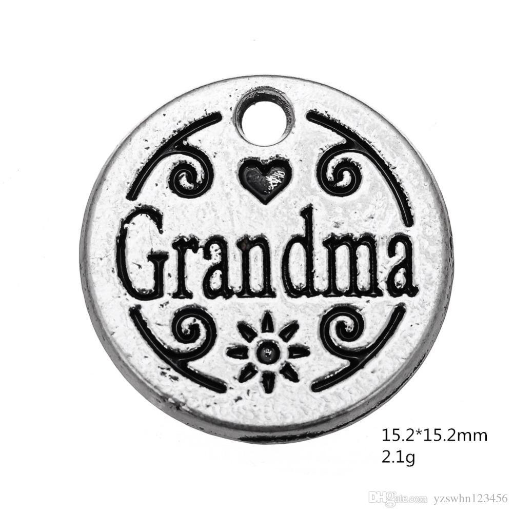 Regalo vendedor caliente de la aleación del cinc de la palabra encanto de la abuela de la placa para los accesorios relativos del collar de DIY que hacen