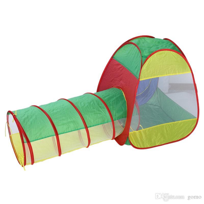 3 in 1 Baby Play House Cubby-Tube-Teepee 팝업 텐트 어린이 터널 키즈 어드벤처 하우스