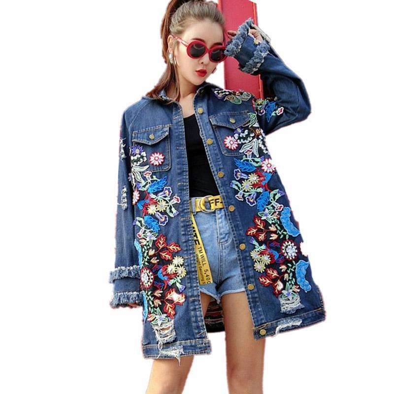 Primavera autunno manica lunga ricamo floreale denim trench donne nappe strappato fori jeans cappotto hip hop streetwear outwear