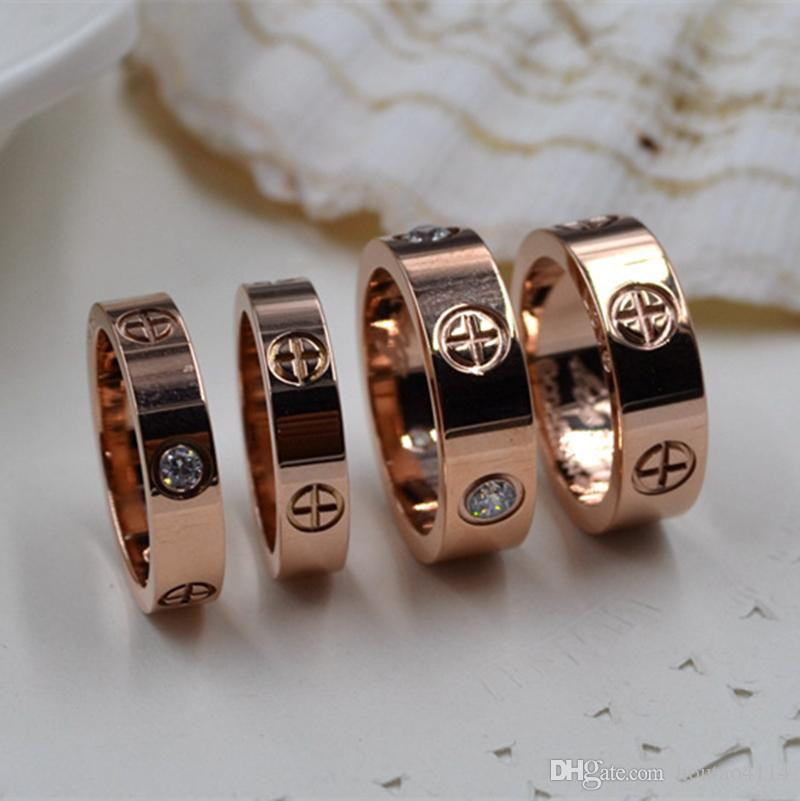 European and American fashion LOVE zircon ring couple models screw titanium steel ring couple rose gold women's ring