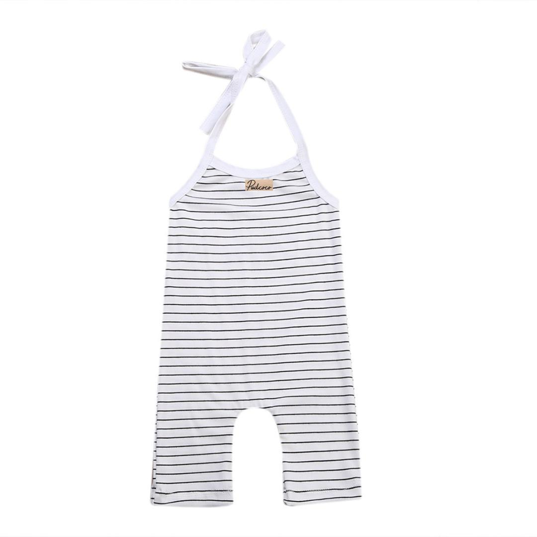 Bebê recém-nascido Meninas Meninos Tarja Preto e Branco O Pescoço de Algodão Sem Mangas Romper Roupas Roupas de Verão