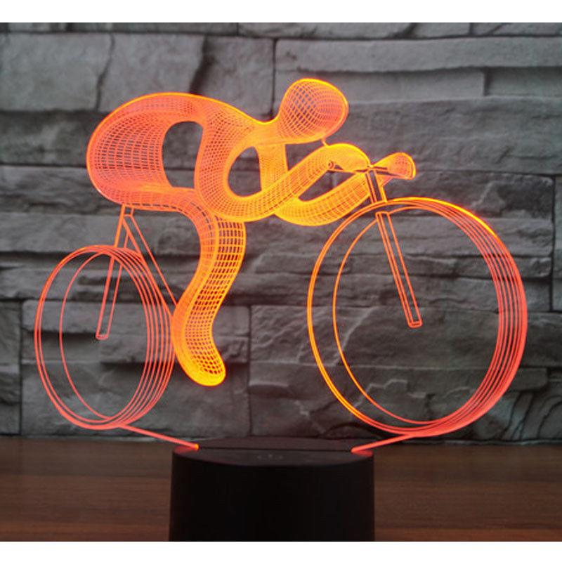 3D LED Night Light Ride Bicicletta 7 colori luce per la decorazione domestica Lampada incredibile acrilico Light Fixtures Spedizione gratuita # R21