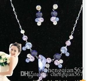schimmernde lila diamant kristall birde set damenkette ohrringe fghfg