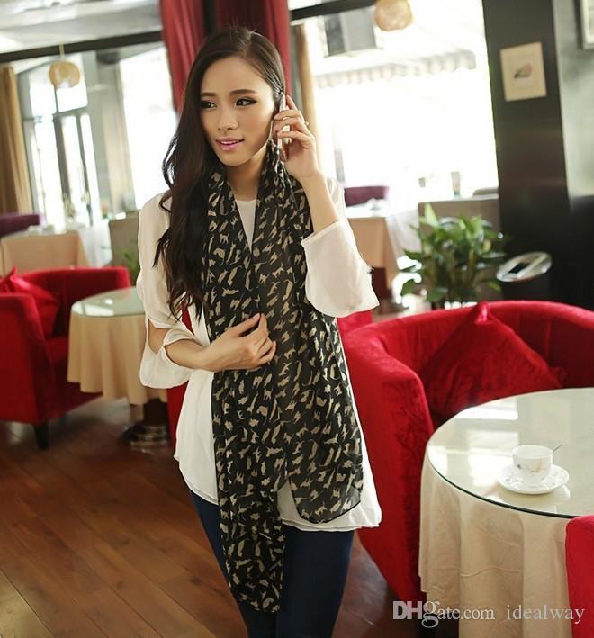 100 ٪ الحرير أزياء نمط جديد أسود الكاكي 2 الألوان القط الشيفون تصميم وشاح شال
