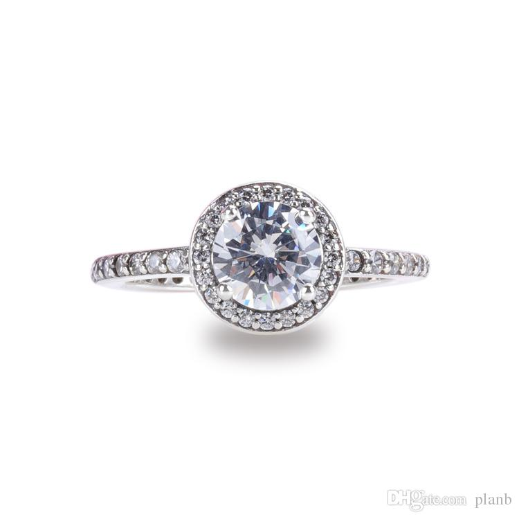 Women Gift Jewelry Real 925 Sterling Silver CZ Diamond Rings for Pandora Classic Elegance Ring Original Box Set
