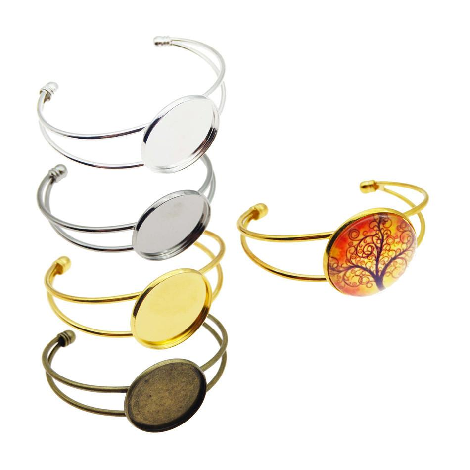 Charm 25mm 4 Color Silver Plated Bangle Base Diy Bracelet Blank Findings Tray Bezel Setting Cabochon Cameo Jewelry Marking