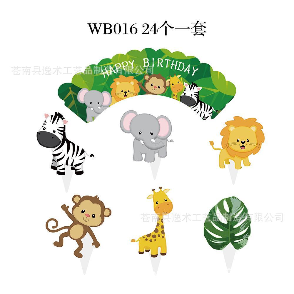 24 adet / grup Karikatür Orman Hayvanlar Kek Topper Doğum Günü Pastası Dekorasyon Bebek Duş Çocuklar Doğum Günü Partisi Favor Malzemeleri