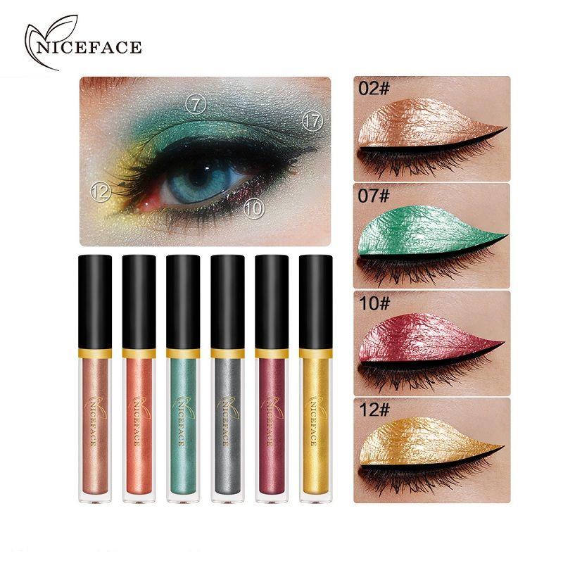Niceface Metálico Dia Das Bruxas Sombra Pigmento Cosméticos Branco Ouro Vermelho Shimmer Glitter Líquido Sombra Maquiagem 6 pçs / set