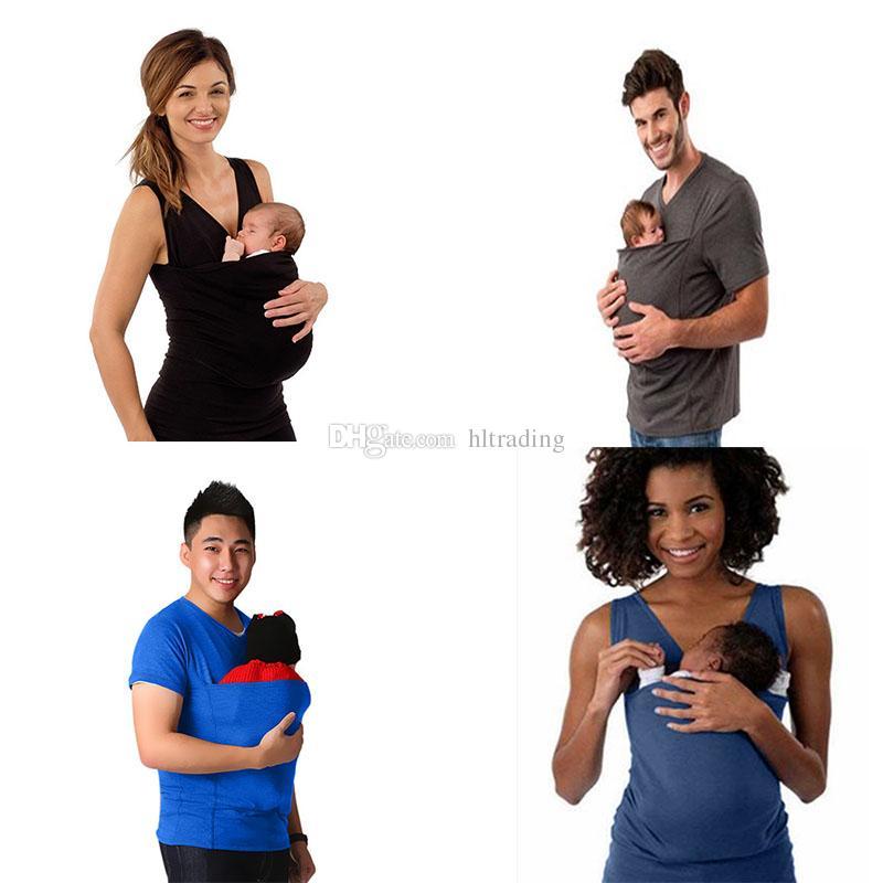 Múltiples funciones Parenting Carrier bebé canguro camiseta mujeres sin mangas Tees Kawaii Tops C3674