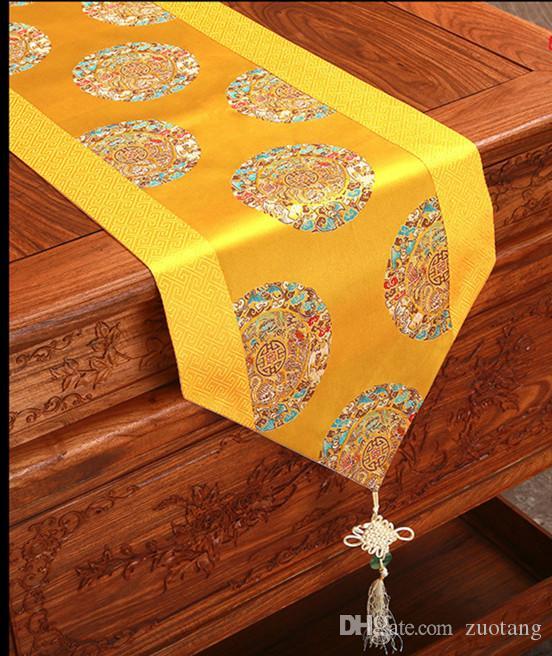250 x 33 cm nudo chino de lujo damasco corredores de mesa patchwork étnica de seda del paño de tabla de la boda del banquete de boda mesa de comedor rectangular