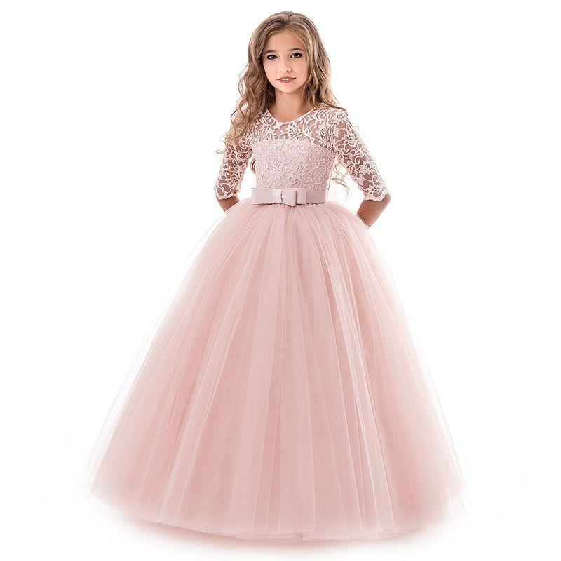 Compre 2018 Nova Adolescente Princesa Rendas Vestido Sólido Crianças Flor Bordado Vestidos Para Meninas Crianças Desgaste Do Partido Do Baile De