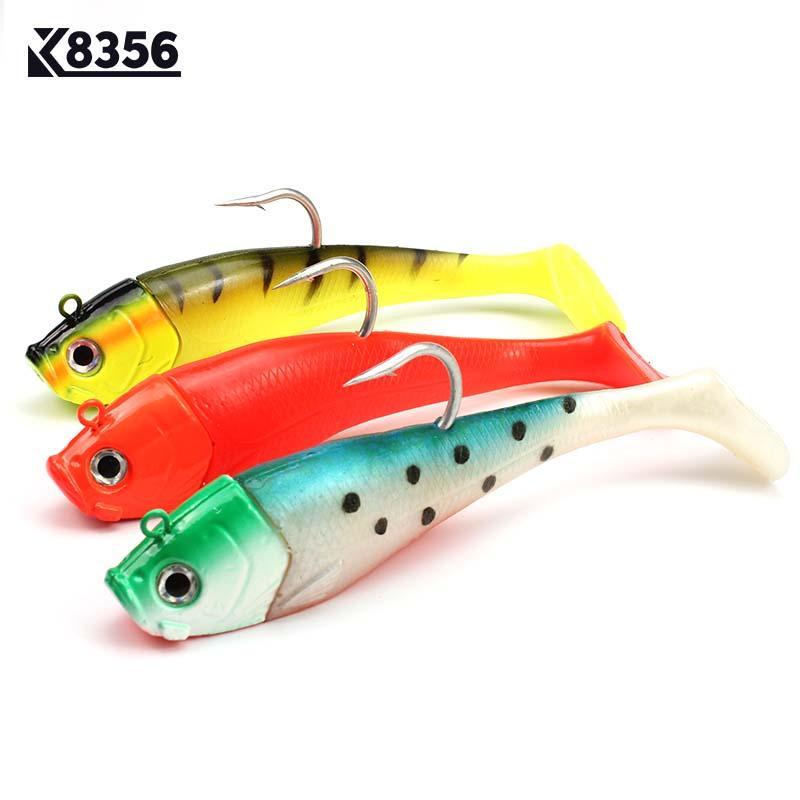 wholesale 3D Fish Eyes Fishing Lure Lead Head Big Soft Bait Jig Sinking Crankbait Saltwater Soft Bait Single Hook 20cm 300g
