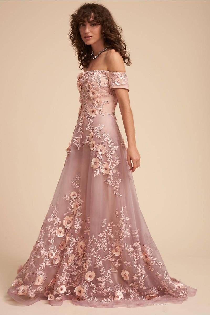 Großhandel Gorgoues 20 Abendkleid Off Shoulder Lace 20D Floral Appliqued  Sweep Zug Perlen Customized Abendkleider Light Pink Abendkleider Von Sweet