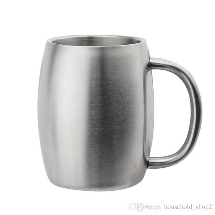 Tasses de tasse de bière d'acier inoxydable tasses de lait de café de 420ml avec la poignée double paroi bar tasse de bière de vin de partie