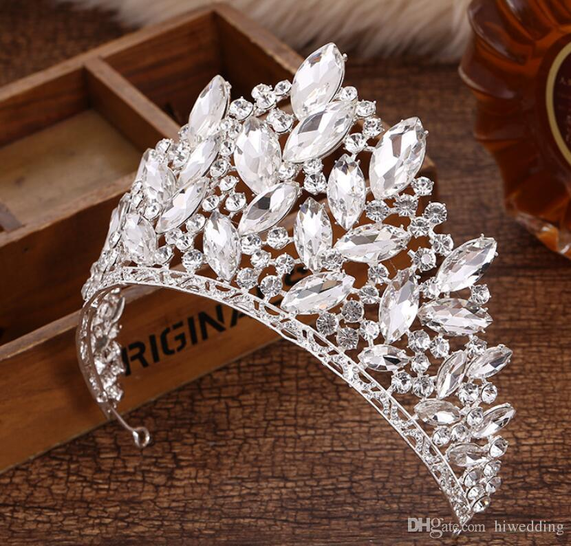 2018 Luxurious Jóias da faísca Pageant Crowns strass casamento nupcial Crowns nupcial Tiaras Acessórios de cabelo brilhante empregada Partido Vestidos C069