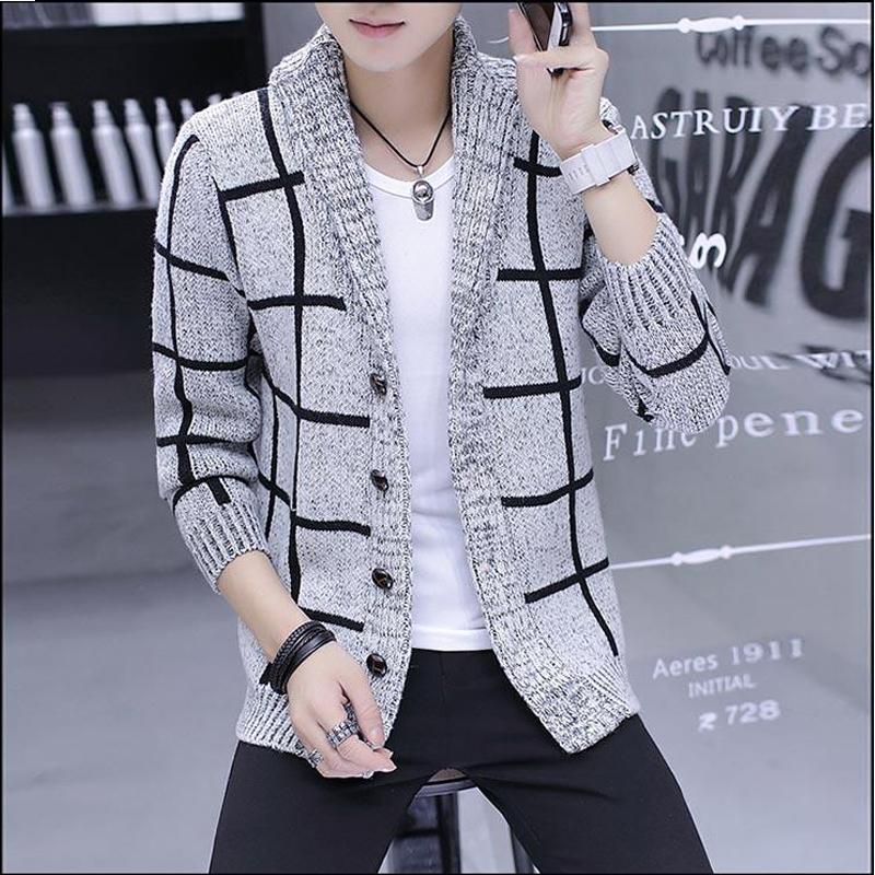 autunno inverno plaid giacca giacca da uomo maglione cardigan maschile