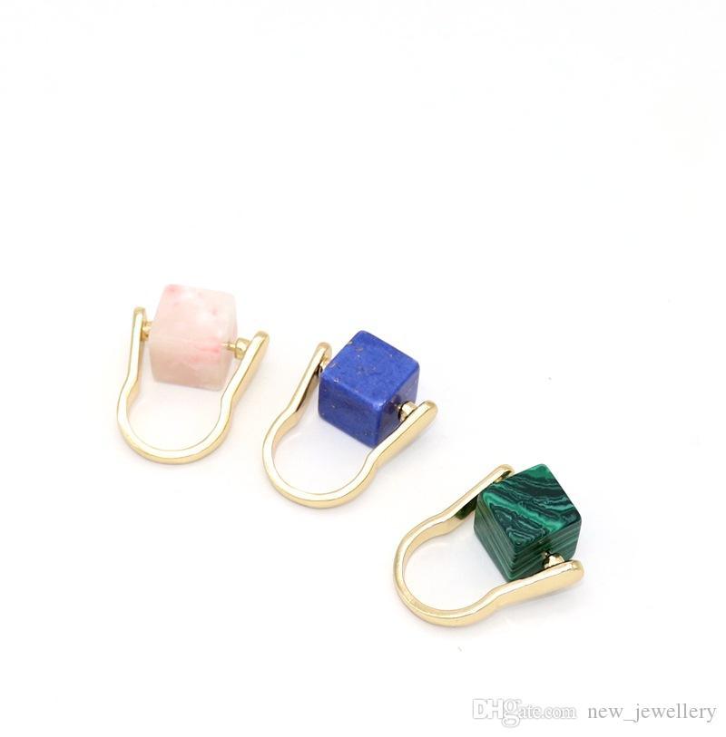 Kamień naturalny pierścień kwadratowy niebieski turkusowy różowy pierścień kryształowy dla kobiet biżuteria