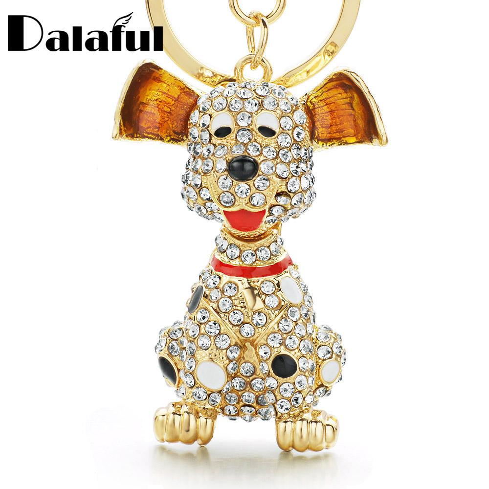 Women Krystal Bling Dog Keychain Purse Pendant Car Holder Key Ring Jewelry NEW
