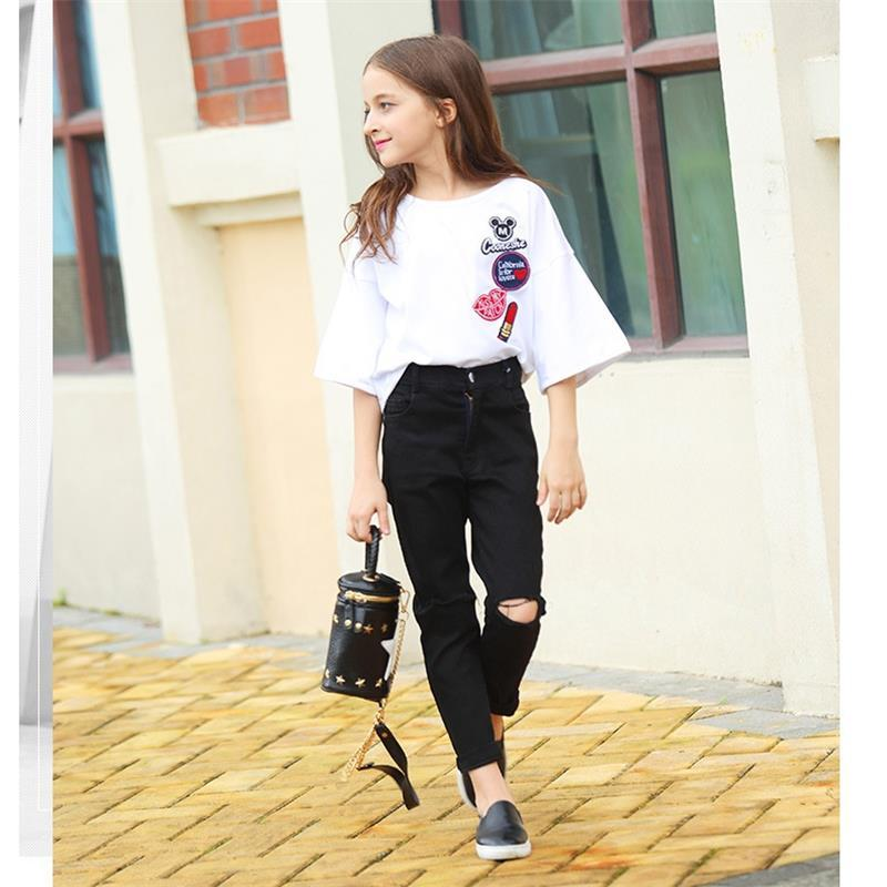 2Pcs Fashion Girls Brown Ruffled Long Sleeve Blouse Tops Black Straight-Leg Pants Clothing Set