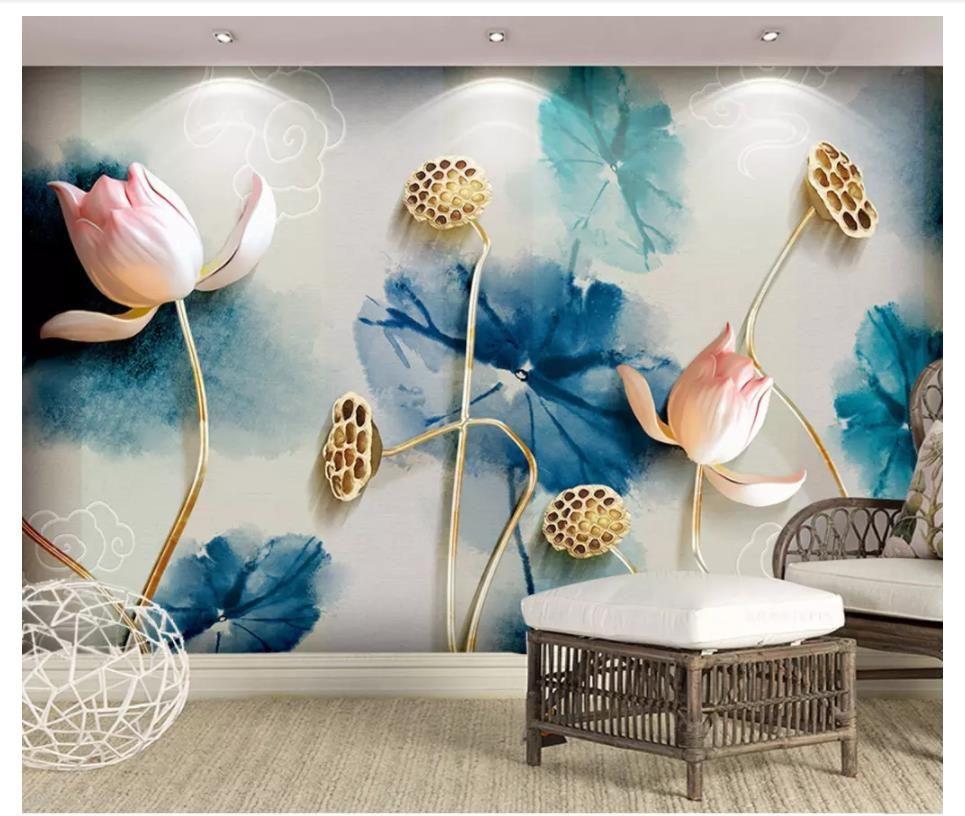 3D murales carta da parati immagine personalizzata murale carta da parati Nuovo inchiostro cinese fiore di loto gioielli semplice sfondo in rilievo muro decorativo