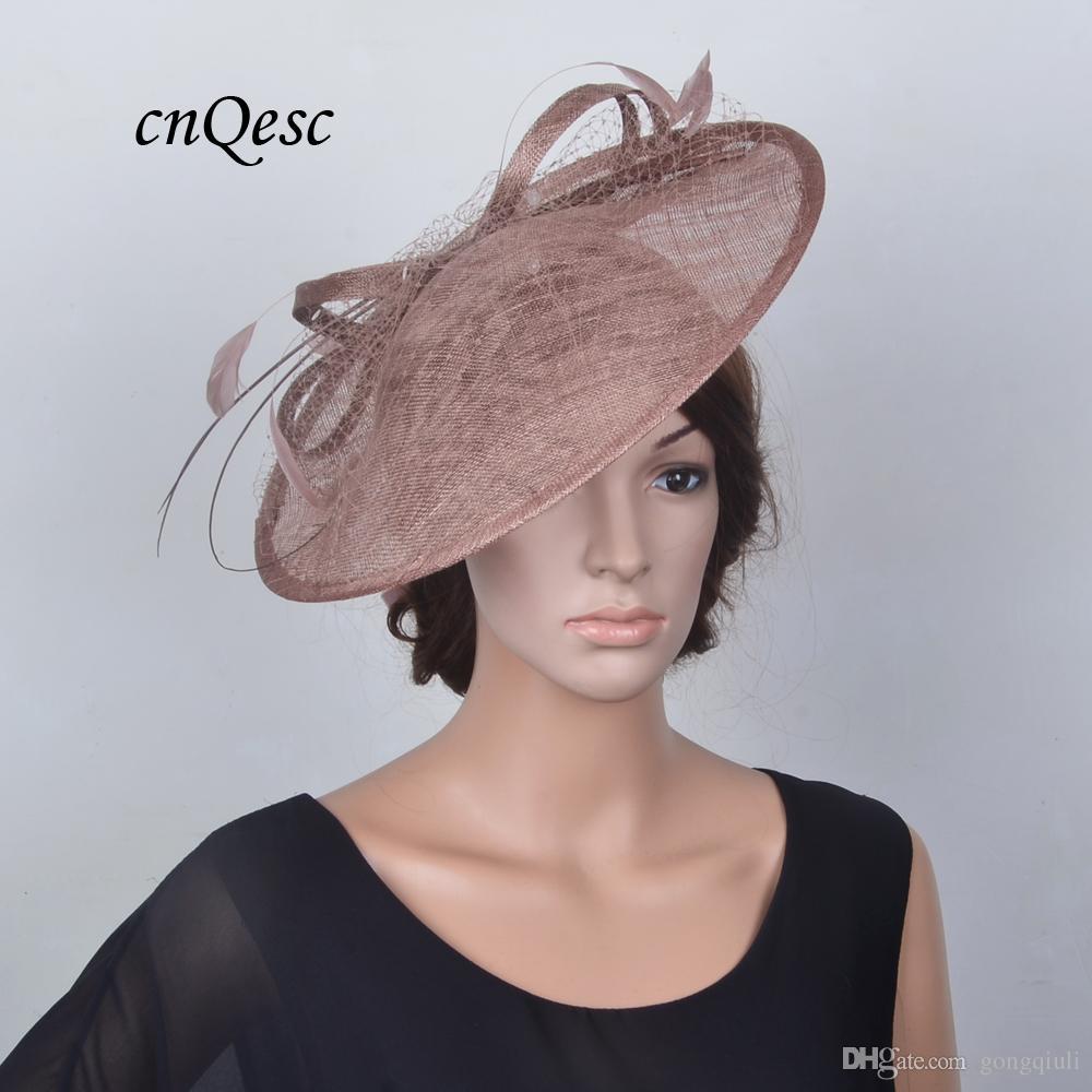 Taupe brown saucer cappello fascinator sinamay fascinator cappello formale per Races Wedding Derby della Festa della mamma