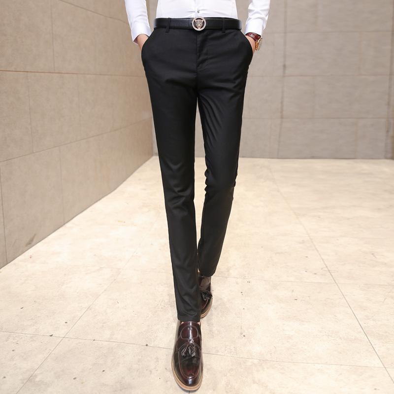 ZEESHANT 2017 패션 남자 복장 바지 남성 스키니 슬림 맞는 바지 모든 일치 Applique 코튼 바지 중간 허리 남자 정장 바지