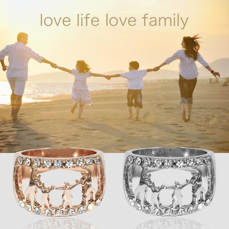 발렌타인 데이 할머니 어머니 날 선물 발렌타인 반지 여성 반지 반지 3 색 사랑 크리스탈 반지