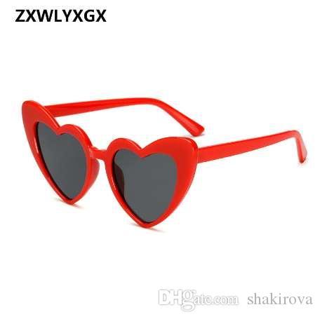ZXWYXGX Nette Sonnenbrille Liebe Gläser Mode Eye Neue Herz Retro Katze Rot Vintage Sexy Frauen Günstige Sonne Weibliche vsnva