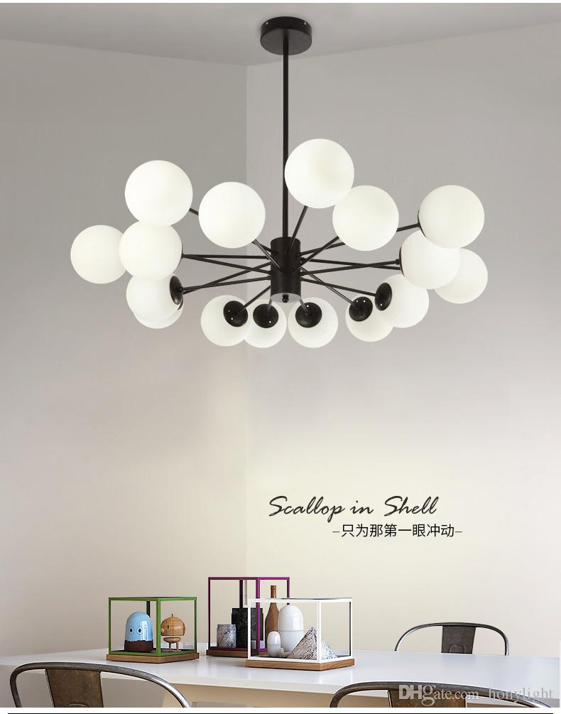 Modern Chandelier LED Round Ball Chandelier Light for Living Room Art Decorative Chandelier Lighting White or Black Bracket LED Light Source