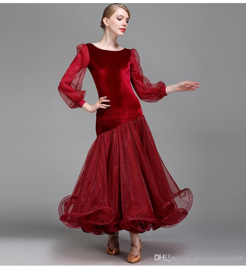 3 colors red ballroom dance competition dresses dance ballroom waltz dresses standard ballroom dancing clothes dance wear 2018