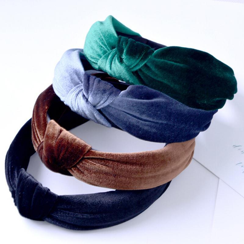 Kadın Vintage Kadife Kafa Büküm Hairband Yay Düğüm Çapraz Kravat Kadife Headwrap Saç Bandı Çember Şapkalar Saç Aksesuarları