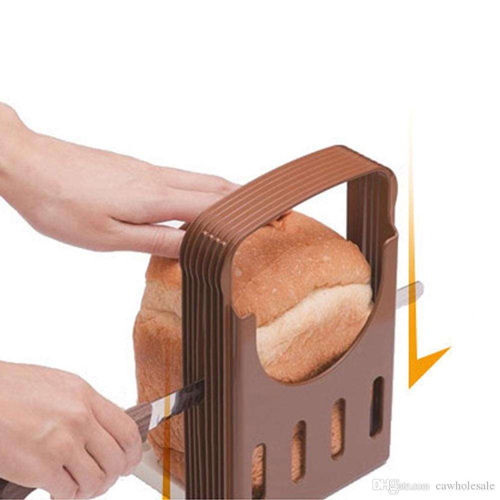 Kitchen supplies baking tools - Compact And Foldable Kitchen Baking Bread Loaf Toast Slicer Cutter - Brown color