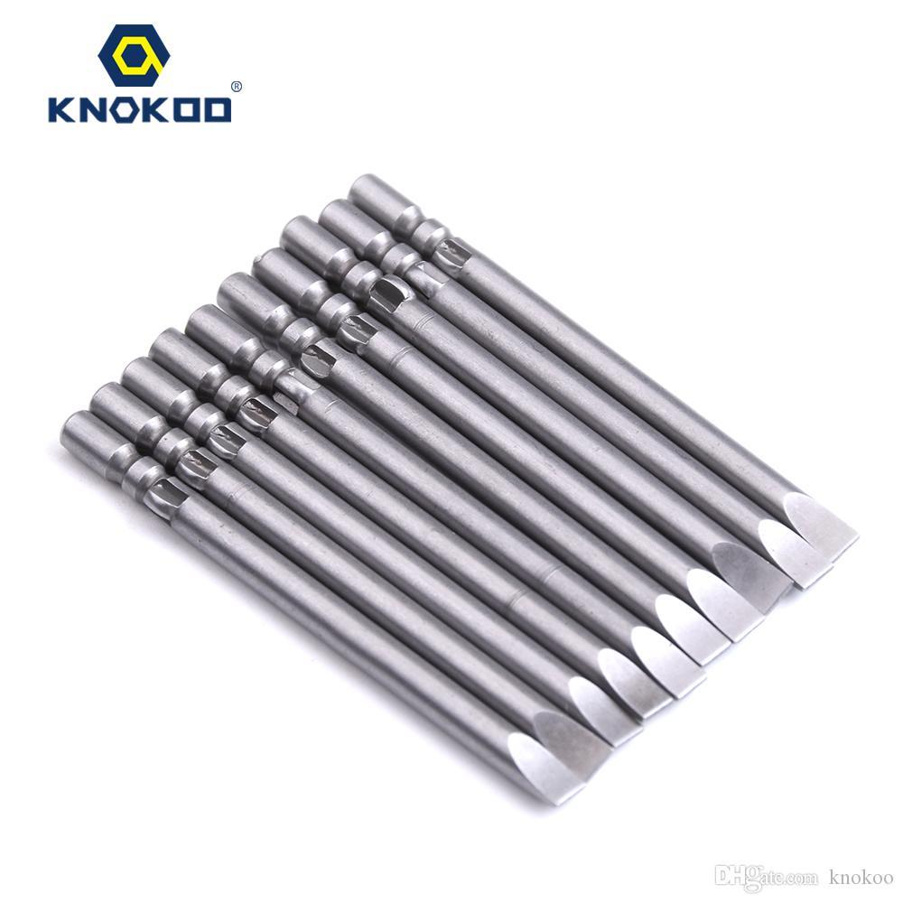 KNOKOO 10pcs/lot 4*60*SL4.0 Screwdriver Drill Bit 60MM Slotted Head Screw Driver Bits H4 Shank Magnetic SLOT Shaped Driver Bits
