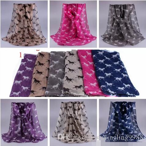 الحيوان طباعة وشاح جديد أزياء الشتاء الحصان مطبوعة الأوشحة الفوال والأوشحة بالجملة 180 * 90cm 12 الألوان