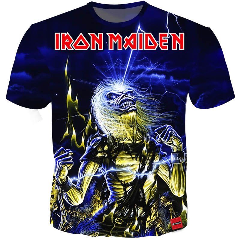 Hot camiseta 3D Iron Maiden Impresión Camisetas Hombre Mujer Parejas tShirt Heavy Metal Camiseta Skull Top Tee 12 estilos S-5XL