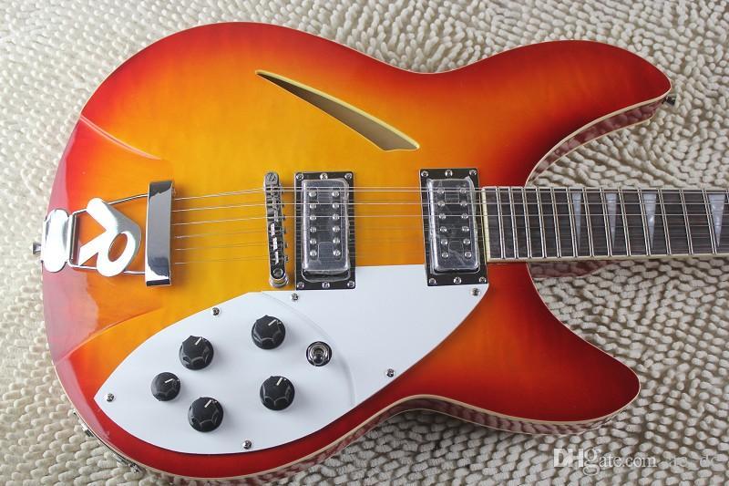Пользовательский RIC Огнь Glo Cherry Sunburst 360 12 Струны Semi Hollow Body Electric Guitar Dual Body Binding версию, треугольник СС гриф инкрустация