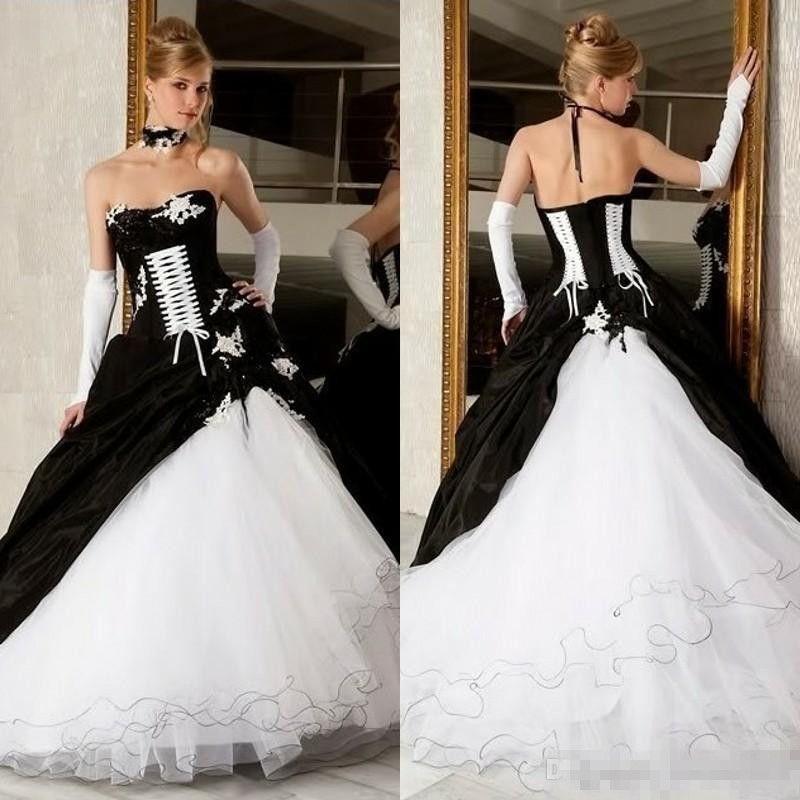 Vestidos de boda de los vestidos de bola blancos y negros de la vendimia 2019 Venta caliente Corsé Backless Victorian Gothic más tamaño vestidos nupciales de la boda baratos