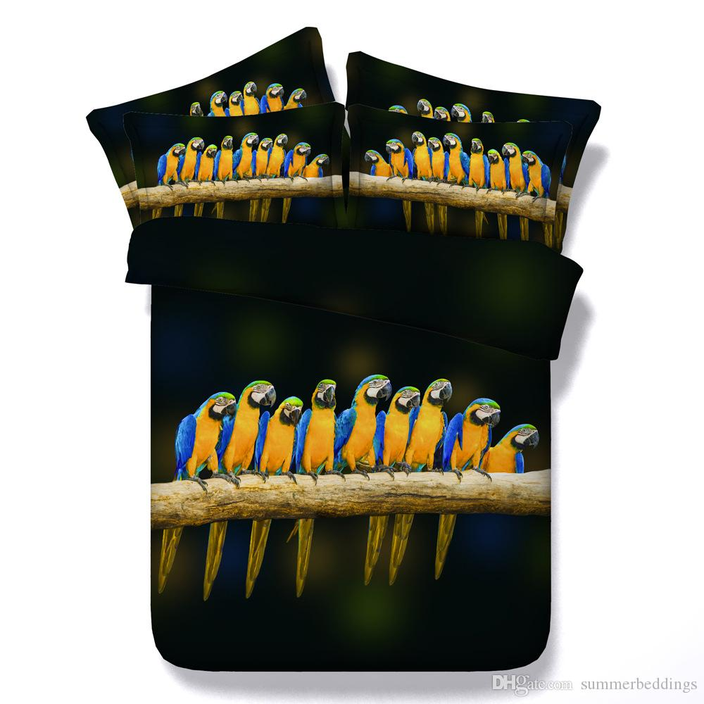 3D parrots bedding sets queen christmas duvet cover single twin king cal king size bedspreads black bed cover animal pillow shams home decor