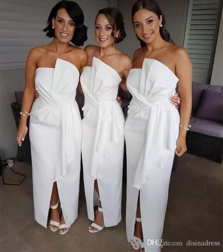 Simple White Sheath Bridesmaid Dresses Bateau Split Cheap Plus Size Wedding Guest Dress Custom Made Bridesmaid Dress