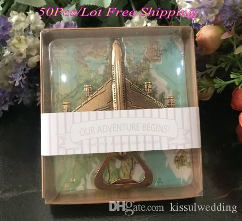 (50 Pieces/Lot) Wedding and Party Favors Let the Adventure Begin Airplane Bottle Opener Favors For Travelling themed wedding gift