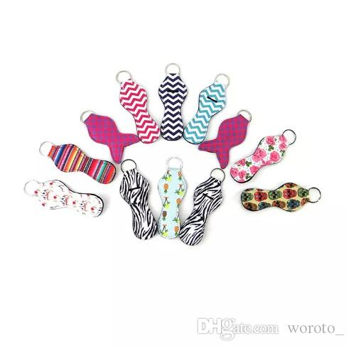 Neoprene Chapstick Holder Keychain Girl Chapstick Lipstick Keychain For Sale Gift Favors Valentines Gift Durable 300pcs