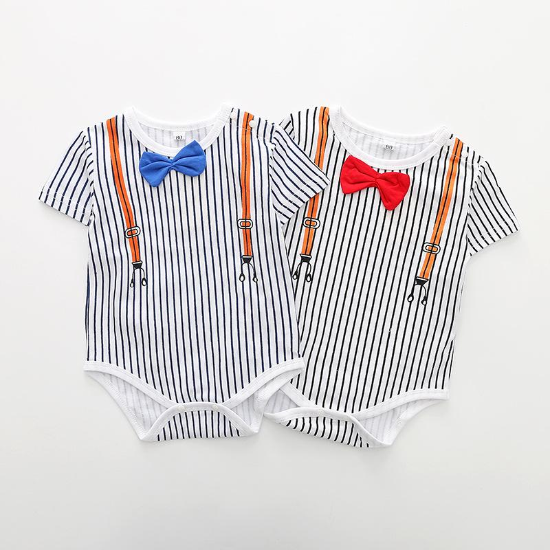 Baby girl clothe boy rompers children clothing newborn stripe bow ties Romper dress up the baby clothes Jumpsuit