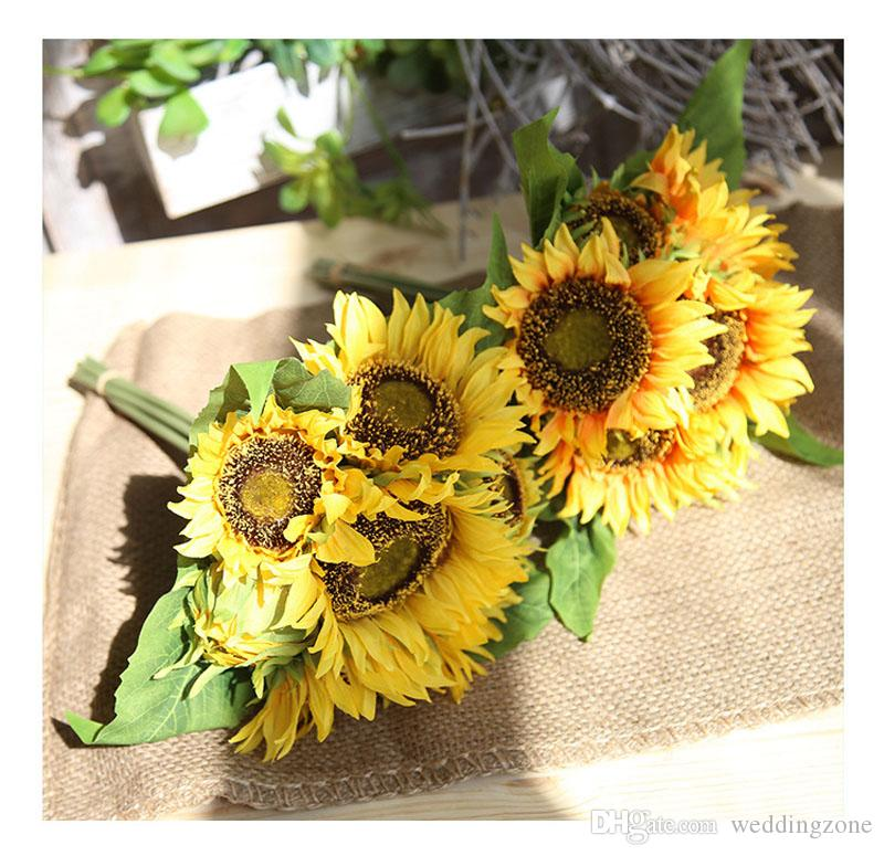 Silk Sunflower 35cm 7Heads 4Leaves Artificial Bridal Flowers Bouquet Pan Cloth For Wedding/Party/Home Decorations MW22101
