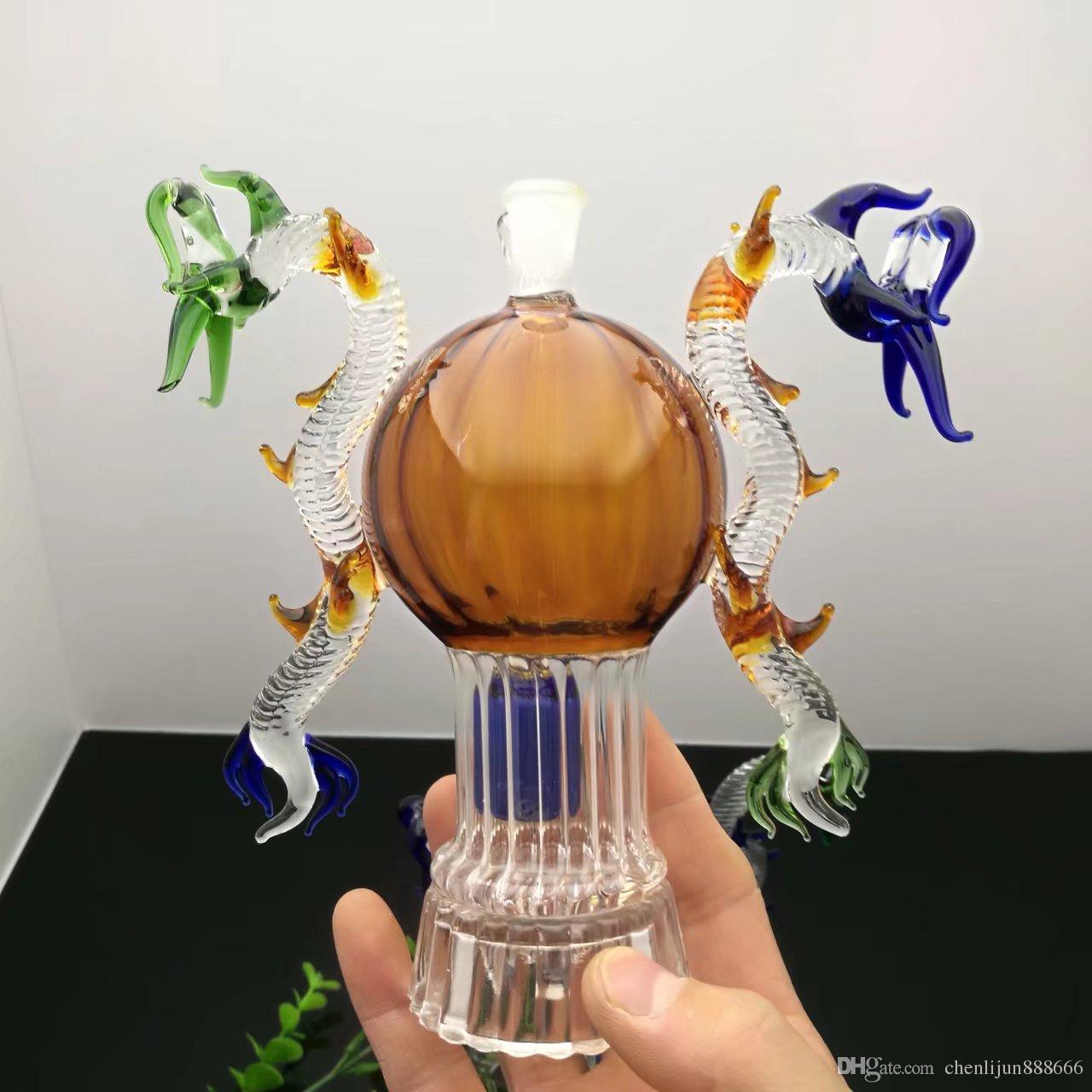 2020 Double Dragon Glass Water Bottle Glass Bongs Oil Burner Glass