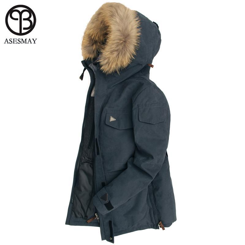 Asesmay 2018 Down Jacket Men Winter Thick Warm 90% White Duck Down Hooded Natural Fur Collar Man Down Coat Waterproof Men Parkas L18101103