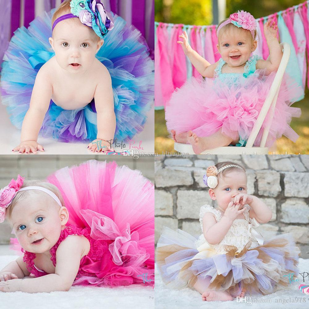 Newborn infant Tutu Skirts Fashion Net yarn baby Girls skirt Halloween costume 19 colors kids Bow lace skirt (only skirt) C2552