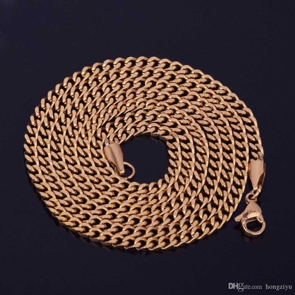 """Maiami الكوبي سلسلة قلادة 3 ملليمتر 20 """"24"""" 30 """"الذهب والفضة اللون الرجال الهيب هوب المقاوم للصدأ رابط قلادة الهيب هوب مجوهرات للنساء"""