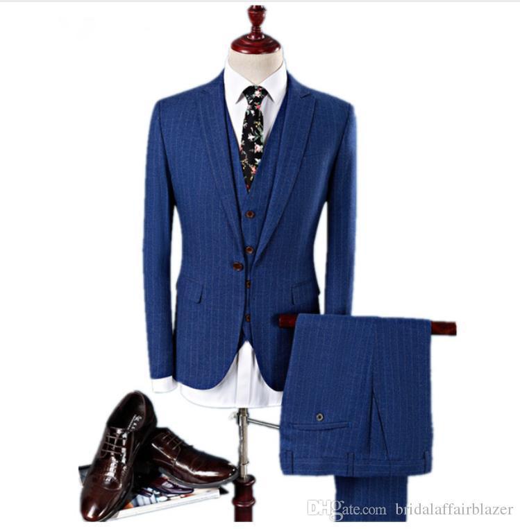 575ed754609 (Jacket+Vest +Pants) mens fashion High quality Men Slim casual pin stripe  suit jacket Men's wool suits wedding dress suit mens blazer