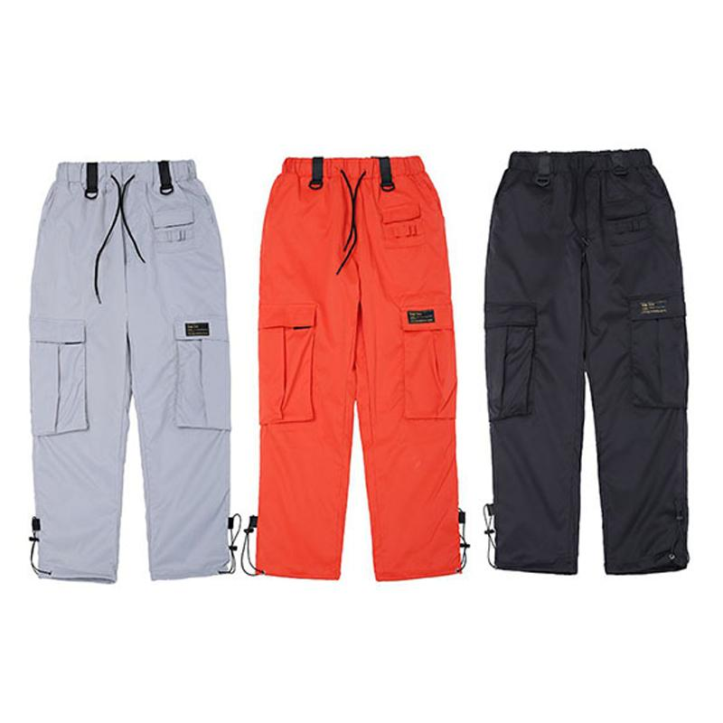 2018 Nouveaux Hommes Femmes Pantalon Cargo Hip Hop Taille Élastique Occasionnel Jogger Pantalons De Jogging Pochettes Décoration Orange Argent Automne Pantalon